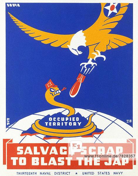 Vereinigte Staaten von Amerika  USA  sammeln  Poster  Krieg  amerikanisch  Adler  Schrottplatz  Bombe  kassieren  japanisch  Metall  Zweiter Weltkrieg  II.