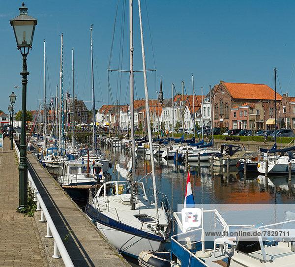 Netherlands  Holland  Europe  Brouwershaven  Port  city  village  water  summer  ships  boat