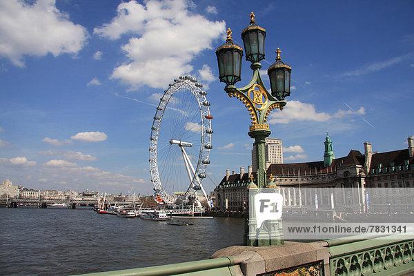 Großbritannien  London  Hauptstadt  Laterne - Beleuchtungskörper  England  London Eye