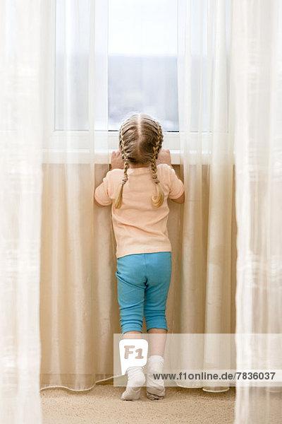 Kleines Mädchen auf den Zehenspitzen  das versucht  aus dem Fenster zu sehen.
