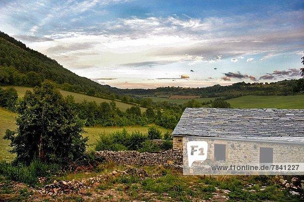 Frankreich Bauernhof Hof Höfe August alt