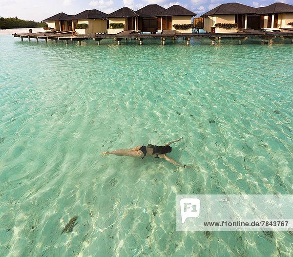 junge Frau junge Frauen Wasser unterhalb Bungalow schwimmen Lagune Paradies