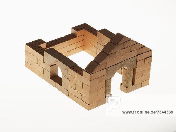Modell des Hausplans auf weißem Hintergrund  Nahaufnahme