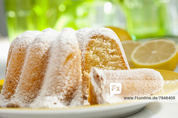 Lemon cake with icing sugar  close up