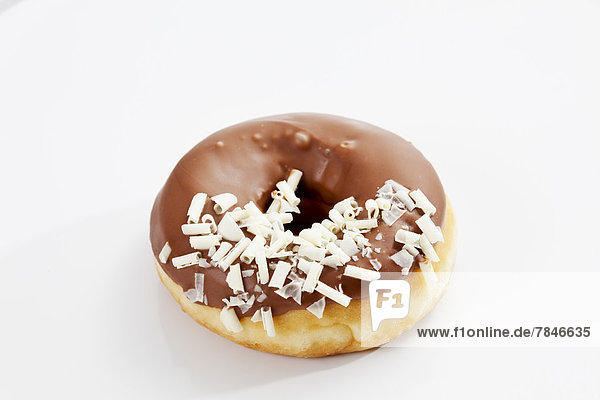 Doughnut topped with chocolate icing  close up