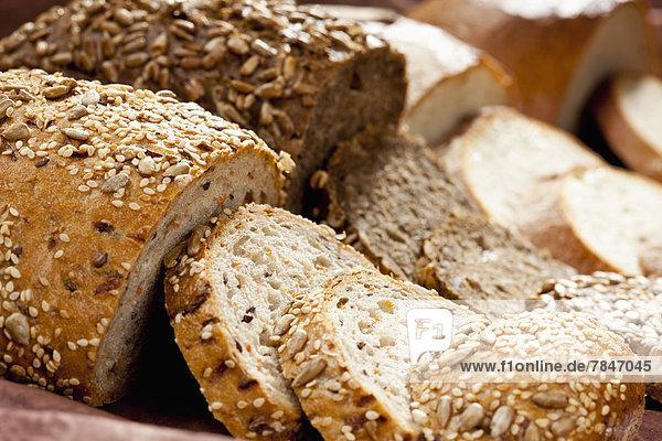 Varieties of bread  close up