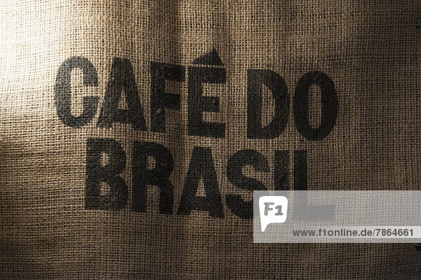 Burlap Brasilianischer Kaffeebeutel  Nahaufnahme