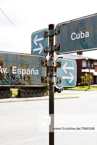 Straße  Fernverkehrsstraße  Zeichen  Uruguay