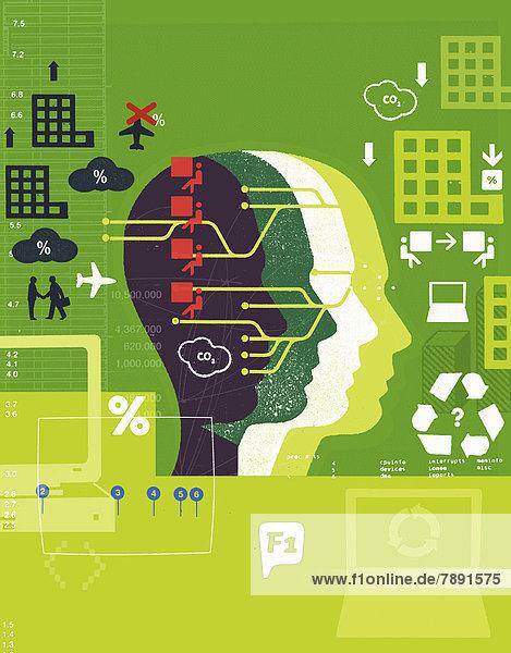 Geschäftliche und Umweltsymbole über einem Kopf Geschäftliche und Umweltsymbole über einem Kopf