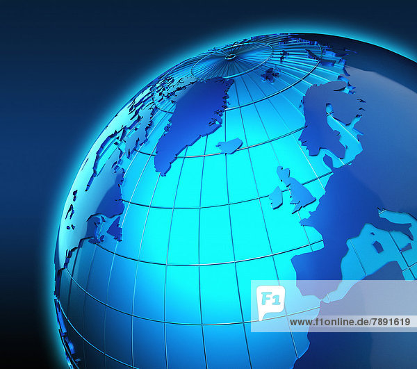 Blauer Globus mit Fokus auf Großbritannien und Europa