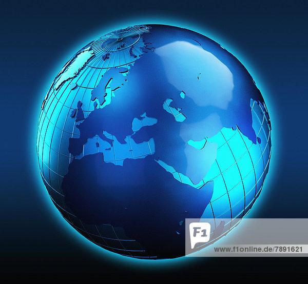 Blauer Globus mit Fokus auf dem Nahen Osten