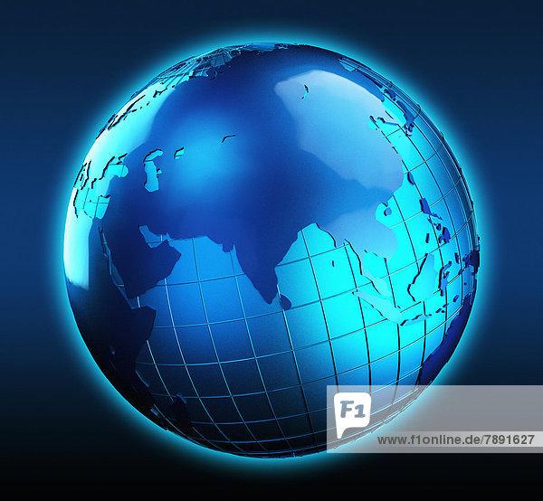 Blauer Globus mit Fokus auf Indien