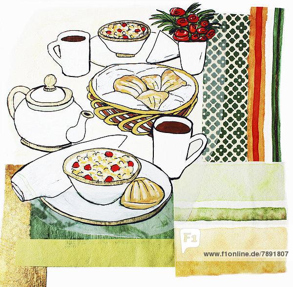Frühstück auf einem Tisch mit Blumen