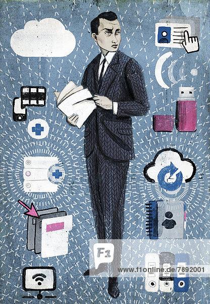 Geschäftsmann mit Akte umgeben von Symbolen