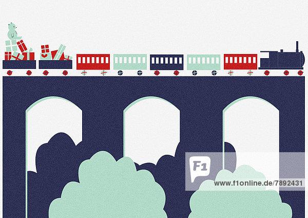 Reise Spielzeug Weihnachtsgeschenk Zug Viadukt