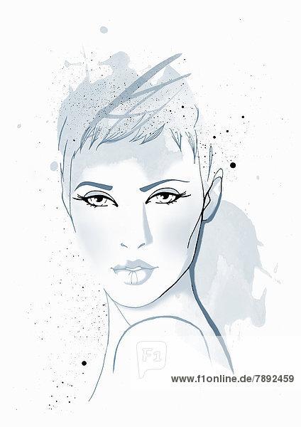 Blaues Portrait einer ernsten Frau