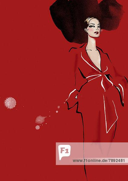 Portrait einer eleganten Frau im roten Kleid