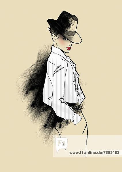 Portrait einer eleganten Frau mit Fedora