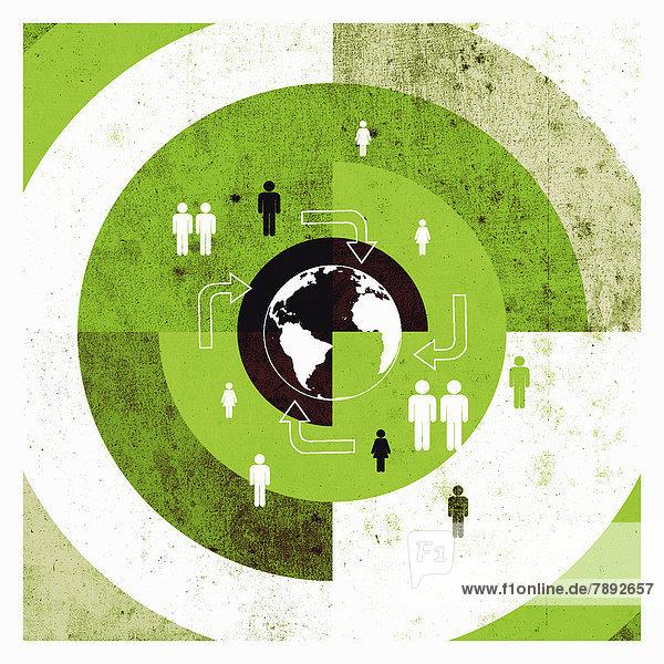 Menschen und Pfeile auf einer Zielscheibe mit Globus Menschen und Pfeile auf einer Zielscheibe mit Globus