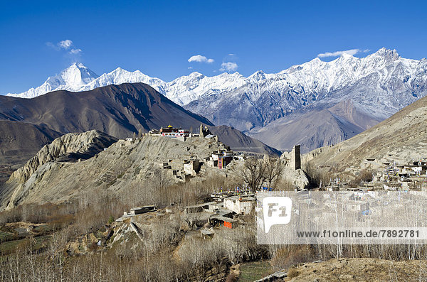 Dhaulagiri Mountain  8167 m  Jhong Village in the foreground  seen from Muktinath
