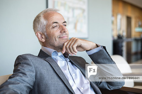Close-up of a businessman thinking