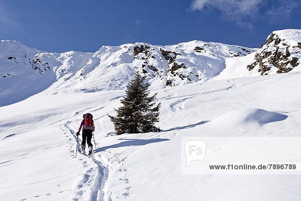 Skitourengeher beim Aufstieg auf die Wurzer Alpenspitz im Ridnauntal