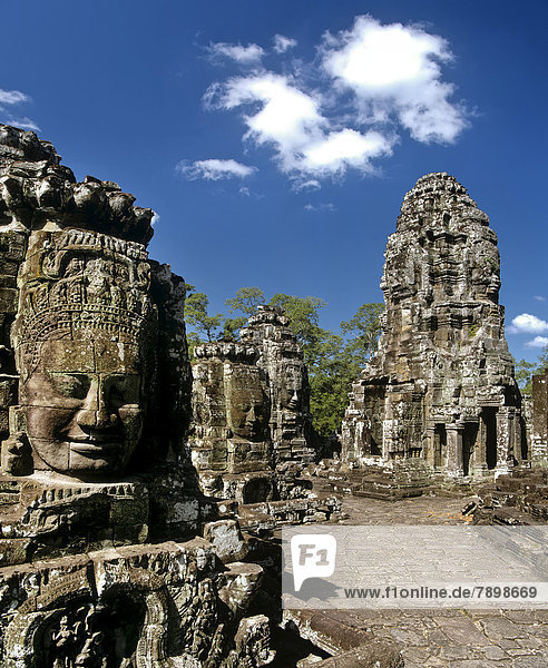 Bayon temple  Second Terrace  face towers  smiling faces of Bodhisattva Lokeshvara  Avalokiteshvara