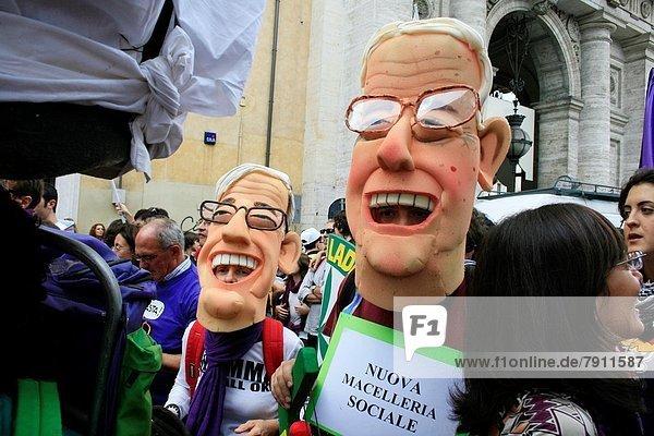 Rom  Hauptstadt  Tag  Demonstration  Italien