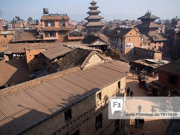 Rooftops and the terrace of an apartment building in Bhaktapur  Nepal.