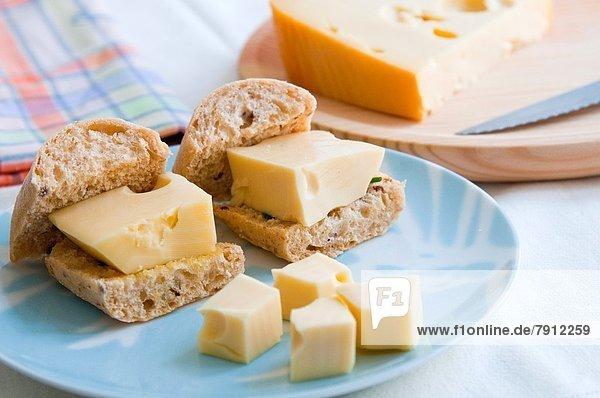 nahe  Brot  Käse  Ansicht  Stück