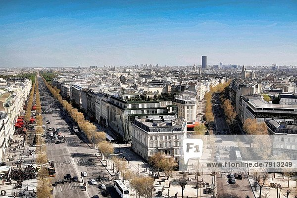 View from the Top of the Arch de Triomphe  Paris  France.