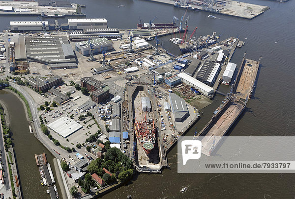 Aerial view  ship in the Elbe 17 dry dock at the Blohm + Voss shipyard