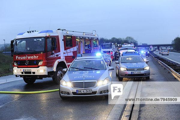 Tödlicher Verkehrsunfall durch einen Falschfahrer auf der Autobahn A 81