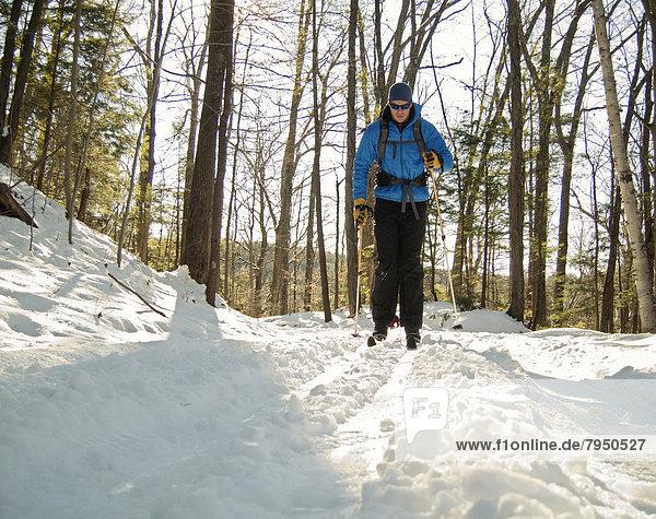 Laubwald  Winter  Skifahrer  Morgen  Produktion  Norden  Frische  Weg