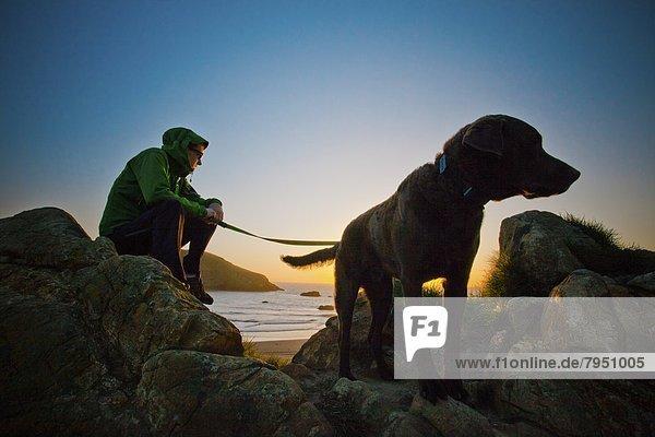 Mann  Felsen  Strand  Sonnenuntergang  Hund  Sonnenaufgang  Schiffswache