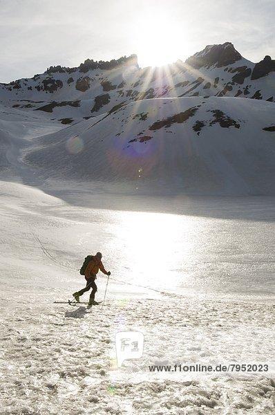 Mann  Wald  Skisport  unbewohnte  entlegene Gegend  Colorado  Silverton