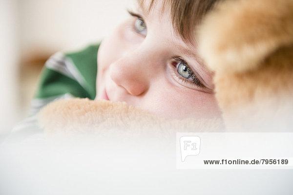 Portrait  Junge - Person  Teddy  Teddybär  streicheln  5-6 Jahre  5 bis 6 Jahre