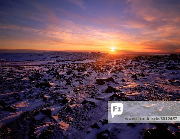 Winter , Sonnenuntergang , über , Schnee , Lava , Feld , Island