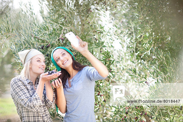 Women taking photo of themselves in olive grove