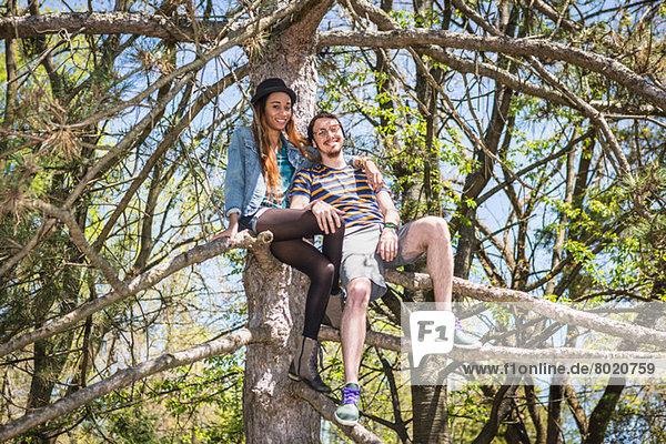 Paar im Baum sitzend  Portrait
