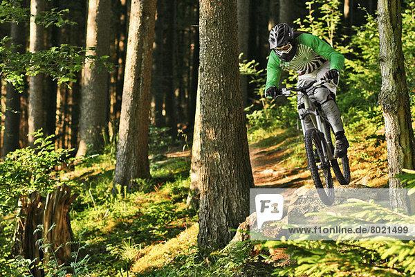 Mountainbiken abseits der Piste durch den Wald