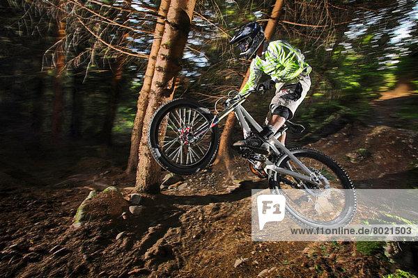 Mountainbiker in der Luft über dem Waldweg
