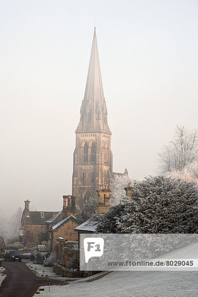 Morgen Nebel Kirche Kirchturm groß großes großer große großen Kälte