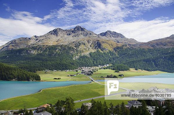 Berg Stadt See Hintergrund Silvaplanersee