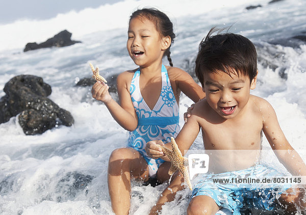 A young boy and girl hold starfish and sit in the crashing waves at the water's edge Honolulu oahu hawaii united states of america