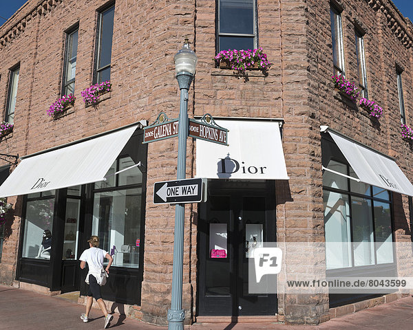 Dior store on corner of Galena St and Hopkins Ave  Downtown shopping district  Aspen  Colorado  USA