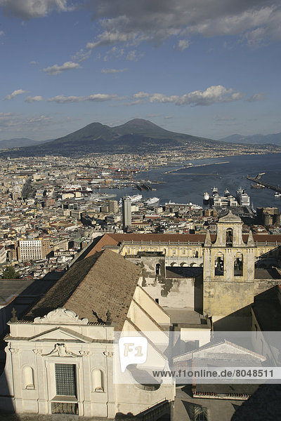Italy  View of Naples and Mt Vesuvius from Castel Sant'Elmo  Naples