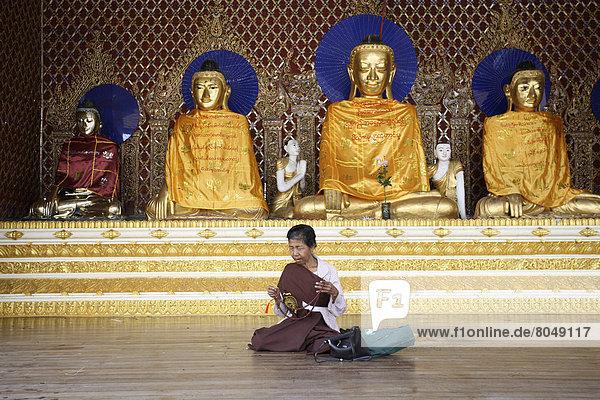 Interior of Shwedagon Pagoda  Rangoon  Burma/Myanmar