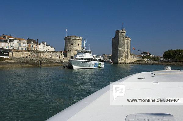 Tour Saint-Nicholas at entrance to La Rochelle,  Poitou-Charentes,  France