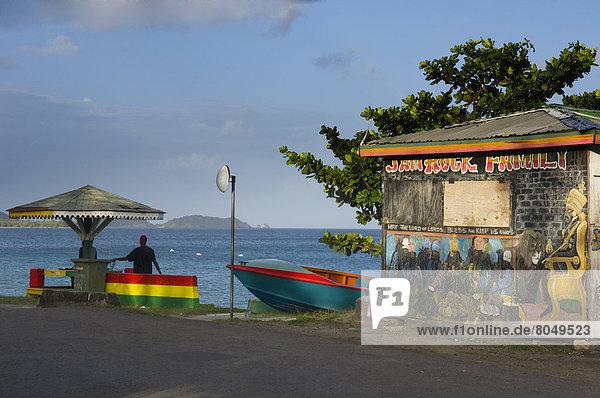 Colorful painted stall  Hillsborough  Carriacou Island  Grenadines  Grenada  Caribbean